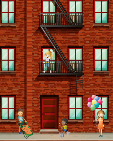 condominium: Apartment building with many kids illustration