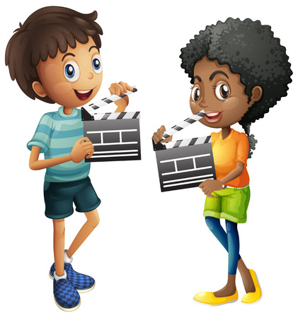 Boy and girl holding clapboard illustration Illustration