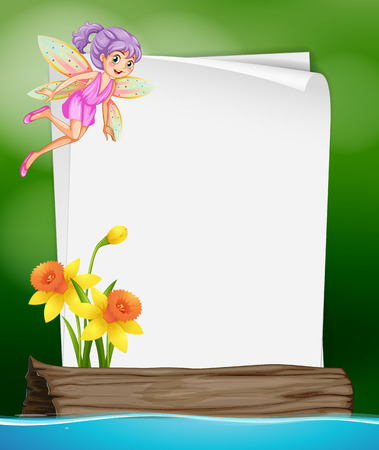 fantacy: Paper template with fairy and flower illustration