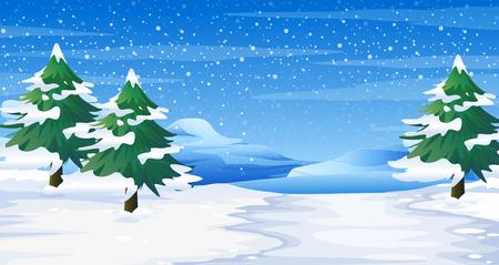 winter garden: Scene with snow on ground and trees illustration Illustration