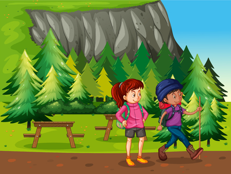 woman walk: Two people hiking in the national park illustration