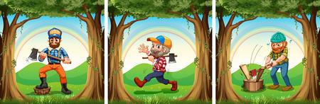 jacks: Lumber jacks chopping woods illustration