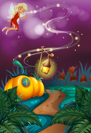 fantacy: Fairy flying in garden at night illustration