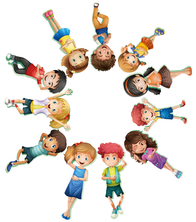 Many children lying down in circle illustration Illustration