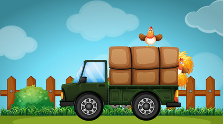 loaded: Truck loaded with hay in the farmyard illustration Illustration