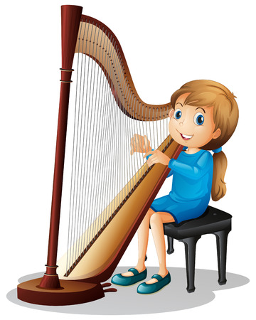 Little girl playing harp illustration Illustration