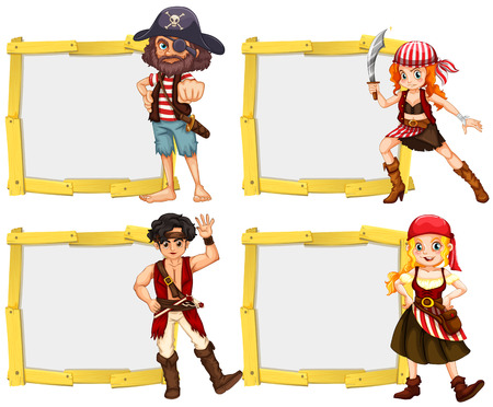 pirate crew: Border template with pirate crew illustration