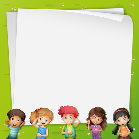 blank banner: Paper template with kids lying down on grass illustration Illustration