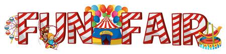 fun fair: Font design for word fun fair illustration