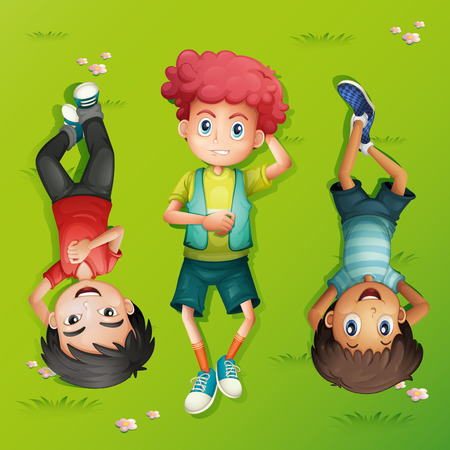 ly: Three kids lying on the lawn illustration