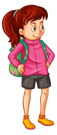 child drawing: Girl in pink jacket and green backpack illustration