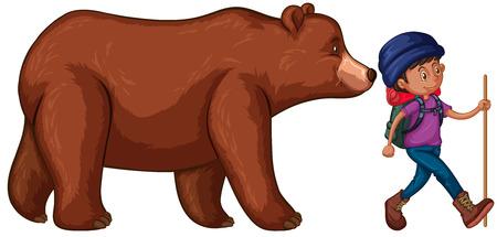 Man go hiking with big bear behind him illustration