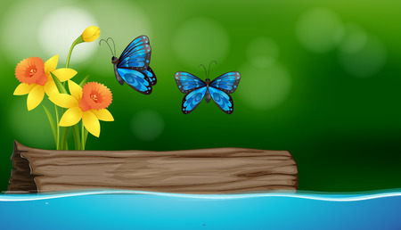 Two butterflies flying over the river illustration