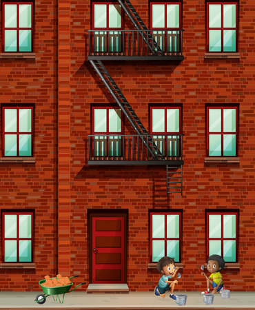 building bricks: Apartment building scene with boys laying bricks illustration