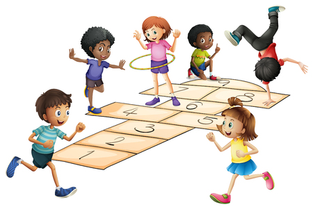 hulahoop: Kids playing hopscotch in the field illustration