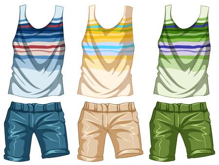 tanktop: Fashion design for tanktop and shorts illustration