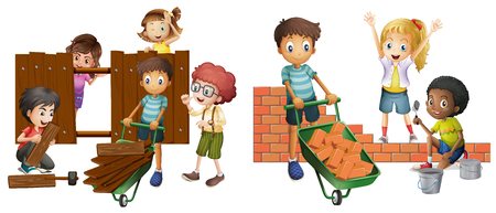 building wall: Children building brick wall and wooden fence illustration Illustration