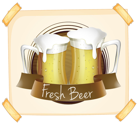 cold drinks: Poster advertising fresh beer illustration