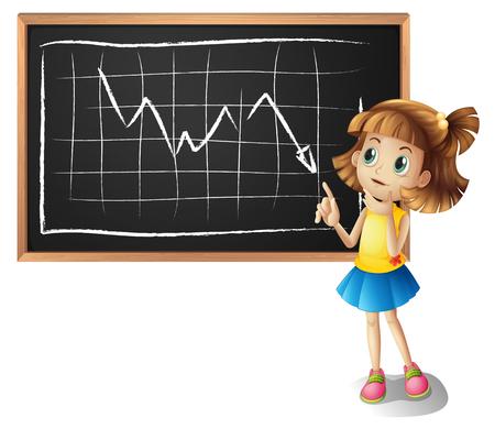 line graph: Girl explaining line graph illustration