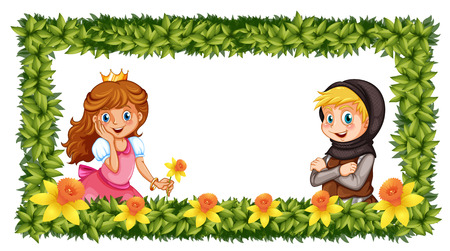 fantacy: Frame template with princess and knight illustration Illustration