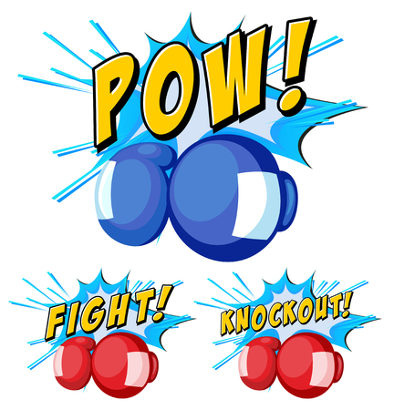 Boxing gloves with three word expressions illustration