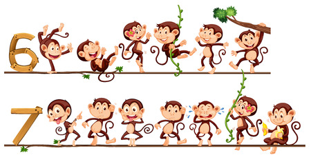 numbers clipart: Monkeys and number six and seven illustration