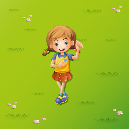 lay down: Little girl lying on the grass illustration Illustration