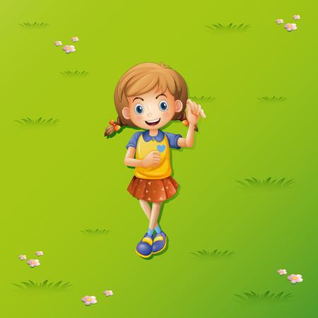 Little girl lying on the grass illustration Illustration