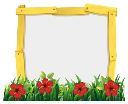 spring leaf: Frame design with red hibicus illustration Illustration