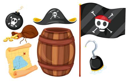 Pirate set with flag and weapons illustration