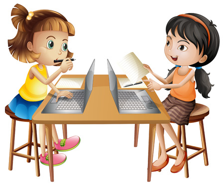 drawing table: Two girls working on computer illustration