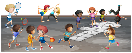 Many children playing different sports  illustration Illustration