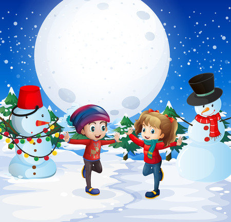 Boy and girl playing with snow at night illustration