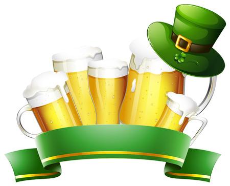 Fresh beer and green banner illustration Illustration