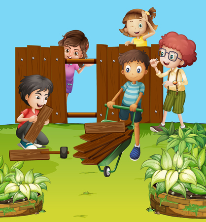 mending: Children fixing fence in the garden illustration Illustration