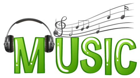 fonts music: Font design for word music with headphone and music notes illustration