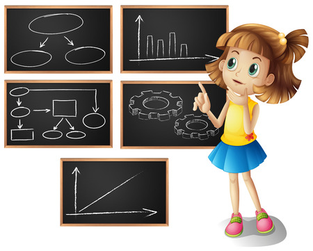 barchart: Girl and different types of graphs illustration