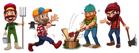 jacks: Lumber jacks and farmer characters illustration
