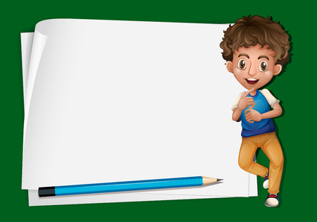 niño parado: Paper template with boy and pencil illustration