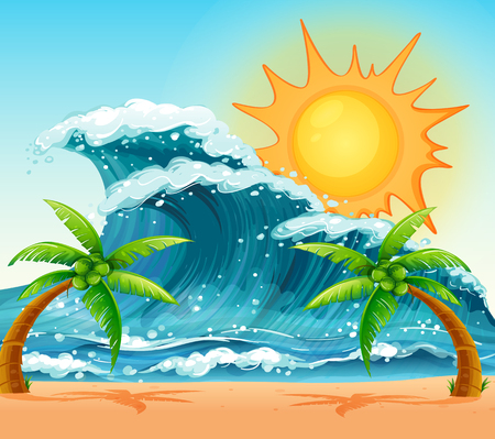 daytime: Scene with giant waves at daytime illustration