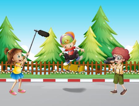 Children shooting boy playing skateboard illustration Illustration