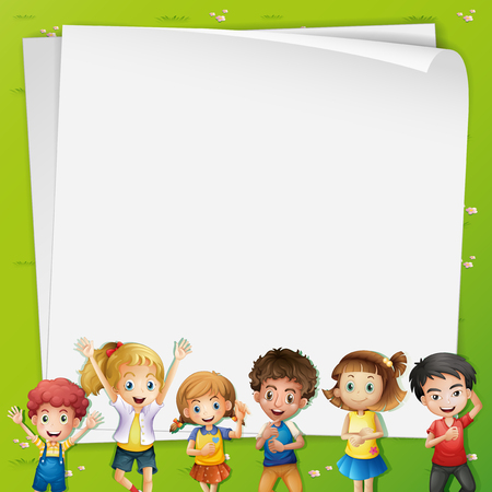 ly: Paper template with many kids illustration