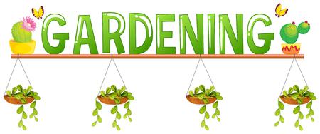 flower pots: Font design for word gardening with flower pots illustration