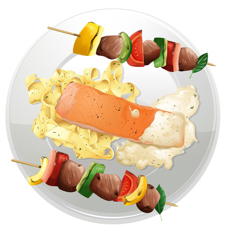 grilled salmon: Salmon fillet and pasta with two beef bbq on the plate illustration Illustration