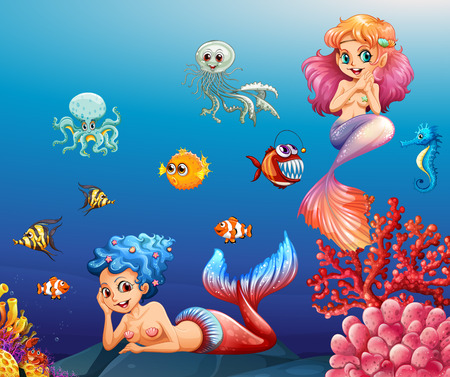 two animals: Two beautiful mermaids and sea animals underwater illustration