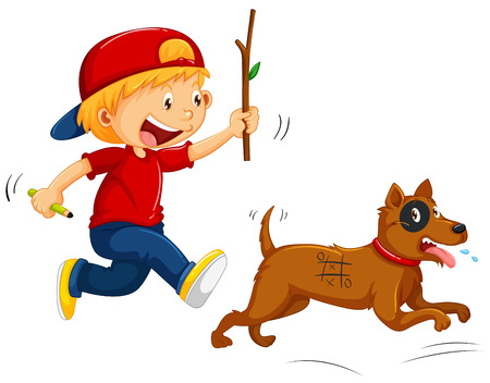 Boy teasing little dog illustration Illustration