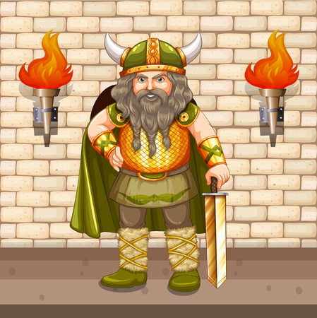 fantacy: Viking king with gold sword illustration