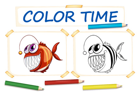 assignments: Coloring template with ugly fish illustration
