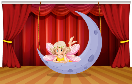 theatrical performance: Stage scene with fairy on the moon illustration