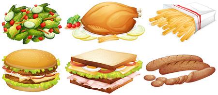 Many kinds of food illustration Illustration